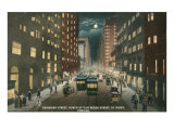 Dearborn Street at Night, Chicago, Illiniois Posters