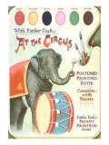 Elephant Beating Drum, Circus Painting Book Print