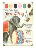 Elephant Beating Drum, Circus Painting Book Print