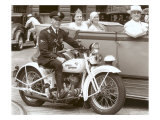 Cop on Motorcycle in Parade Poster