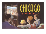 Watching TV in Chicago, Illinois Poster