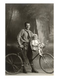 Standing Bicyclist with Little Girl on Handlebars Poster