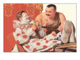 Clown Relaxing with Strongman Print