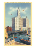 Wrigley Building on Chicago River, Chicago, Illinois Print