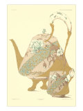 Floral Footed Teapot and Cup Print