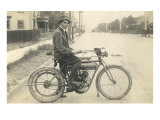 Black and White Photo of Man on Vintage Motorcycle Print