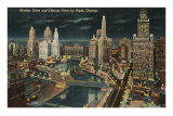 Chicago River at Wacker by Night, Chicago, Illinois Posters