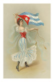 Wasp-Waisted Woman with Flag of Cuba Photo