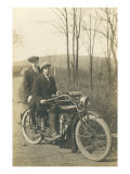 Black and White Photo of Two Men on Motorcycle Poster