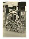 Black and White Photo of Man Dressed as Indian on Motorcycle Posters