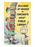 Cartoon of Man with Stack of Books for Chicago Library, Chicago, Illinois Gicléetryck på högkvalitetspapper
