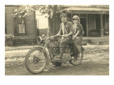 Black and White Photo of Couple on Motorcycle Poster
