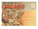 Cartoon of O'Leary's Cow, Chicago, Illinois Posters