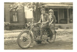 Black and White Photo of Couple on Motorcycle Posters