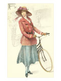 Drawing of Woman with Bicycle Poster