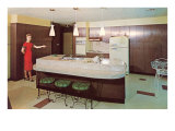 Modern Kitchen with Brown Cabinets Posters