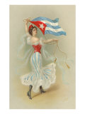 Wasp-Waisted Woman with Flag of Cuba Posters
