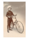 Young Boy in Chef's Hat with Bicycle Posters