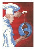 Chef Pouring Chocolate Onto Globe Posters