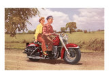 Couple on Red Motorcycle Poster