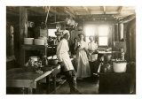 Black and White Photo of Old West Restaurant Kitchen Posters