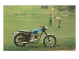Blue and White Motorcycle at the Golf Course Posters