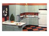 Modern Kitchen with Black and Orange Tile Floor Prints