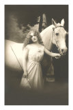 Woman with White Horse Posters