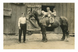 Children on Back of Draft Horse Poster