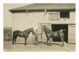 Farmhand with Two Horses Posters