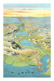 Map of the Suez Canal, Giclee Print