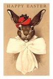 Easter Bunny with Hat and Big Bow Prints