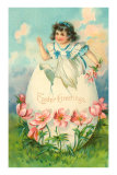 Easter Greetings, Victorian Girl Breaking Out of Egg Posters