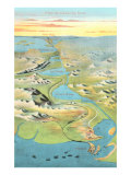 Mapof the Suez Canal Posters
