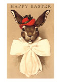 Easter Bunny with Hat and Big Bow Posters