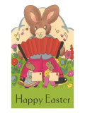 Happy Easter, Cartoon Rabbit with Accordion Print