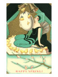 Happy Spring, Woman with Chicks Emerging from Egg Posters