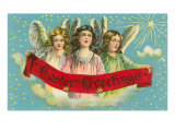 Easter Greetngs, Three Victorian Angels Print