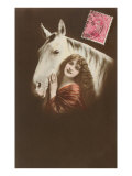 Woman with Wavy Hair and Horse Poster