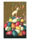 Lamb Bleating on Pile of Easter Eggs Print