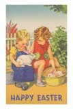 Happy Easter, Children with Rabbits Poster