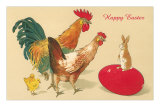Happy Easter, Chickens Greeting Rabbit Prints