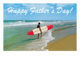 Happy Father's Day, Surfer on Shore Poster