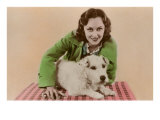 Woman with Sealyham Terrier Posters