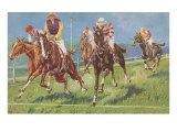 Horses and Jockeys in Steeplechase Plakaty