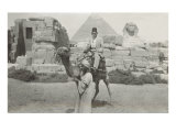 Man in Fez on Camel, Pyramid and Sphinx Poster