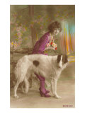 Woman in Purple with Borzoi Pôsters