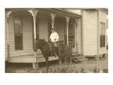 Vintage Farmhouse with Horses Posters