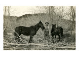 Man in Thicket with Horses Posters