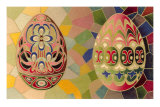 Decorated Eggs and Mosaic Tiles Photo